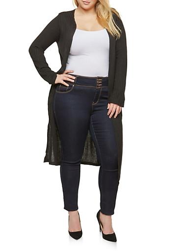 Plus Size Rib Knit Duster Cardigan,BLACK,large