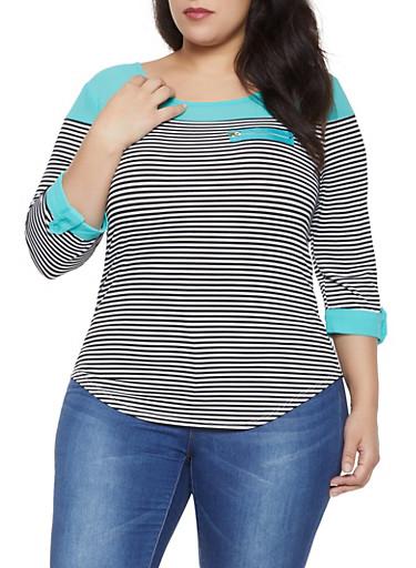 Plus Size Zip Detail Striped Color Block Top,JADE,large