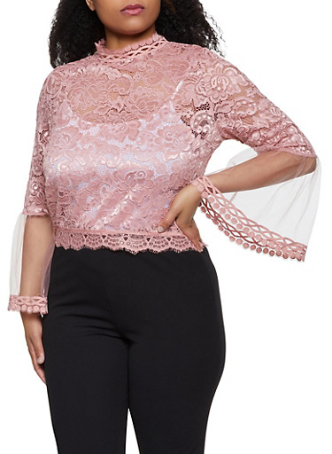 Plus Size Mesh Bell Sleeve Lace Top,MAUVE,large