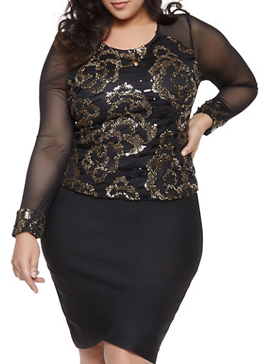 Plus Size Sequined Mesh Top,BLACK,large
