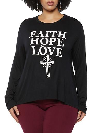Plus Size Faith Hope Love Graphic Top,BLACK,large