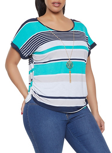 Plus Size Striped Top with Necklace,GREEN,large