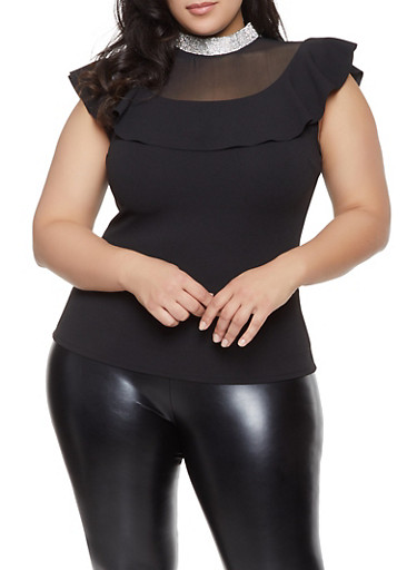 Plus Size Rhinestone Neck Mesh Yoke Top,BLACK,large