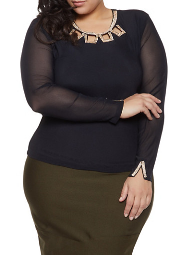 Plus Size Rhinestone Cut Out Mesh Top,BLACK,large