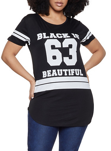 Plus Size Black is Beautiful Graphic Tee,BLACK,large