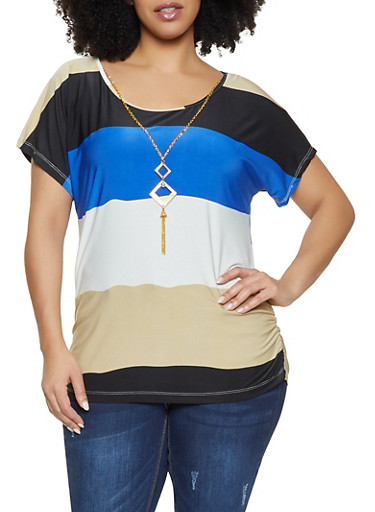 550f96427b6e41 Plus Size Color Block Top with Necklace - Rainbow