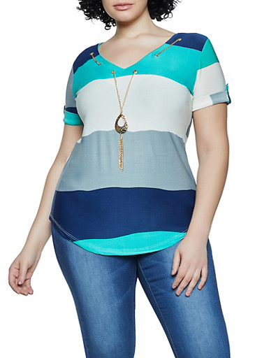 Plus Size Color Block Threaded V Neck Top,JADE,large
