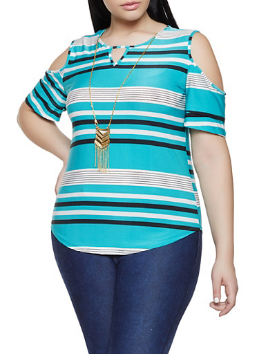 Plus Size Striped Cold Shoulder Top with Necklace,JADE,large