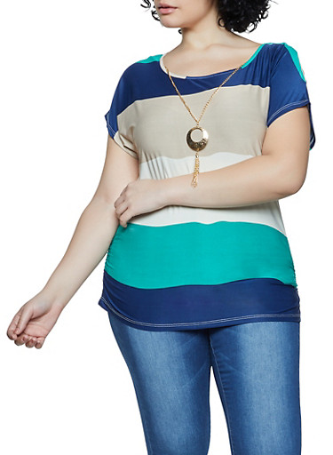 Plus Size Color Block Scoop Neck Top with Necklace,KELLY GREEN,large