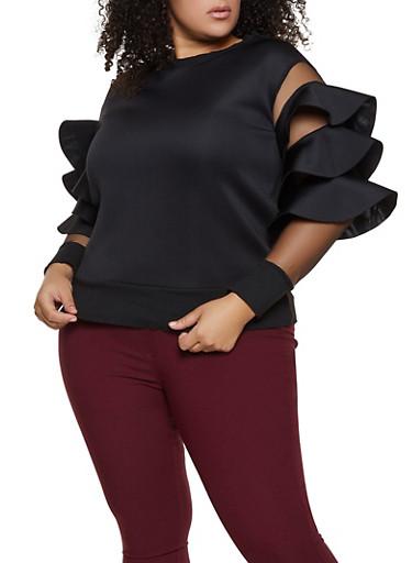 Plus Size Scuba Knit Ruffled Mesh Sleeve Top,BLACK,large