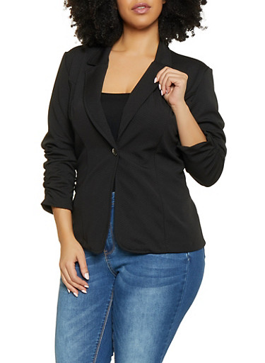 Plus Size Ruched Sleeve Textured Knit Blazer,BLACK,large