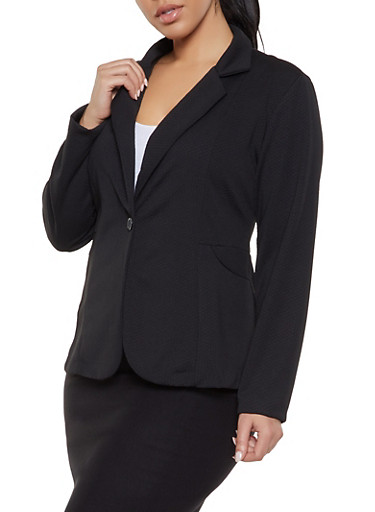 Plus Size Textured Knit Blazer,BLACK,large