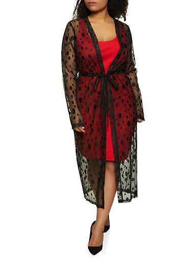 Plus Size Polka Dot Embroidered Mesh Duster,BLACK,large