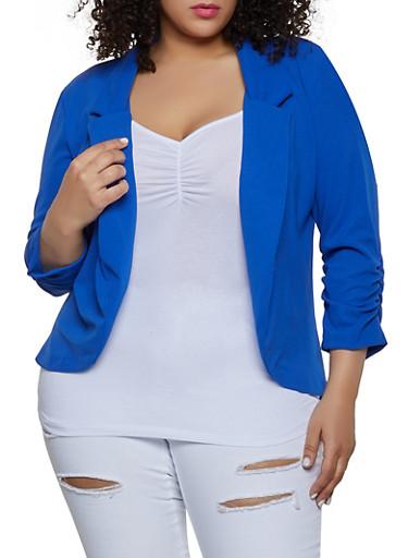 Plus Size Ruched Sleeve Blazer,RYL BLUE,large