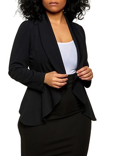 Plus Size Textured Knit Open Front Blazer,BLACK,large