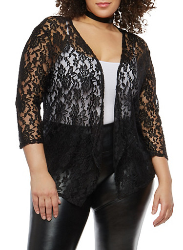 Plus Size Open Front Lace Cardigan,BLACK,large