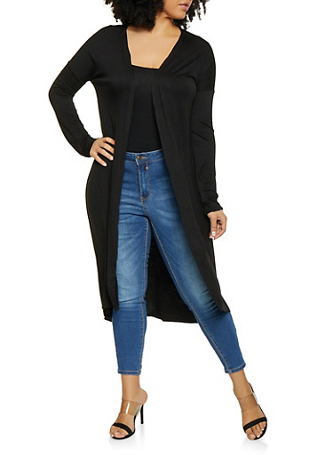 Plus Size Solid Jersey Duster,BLACK,large