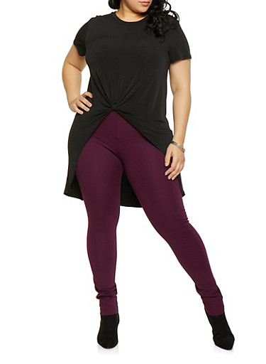 Plus Size Knot Front High Low Top,BLACK,large
