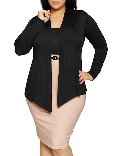 Plus Size Pleated Open Front Cardigan,BLACK,large