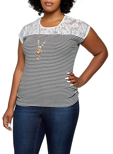 Plus Size Striped Lace Yoke Top with Necklace,BLACK,large