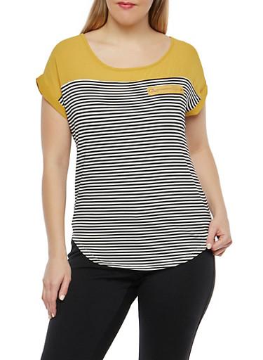 Plus Size Striped Top,MUSTARD,large