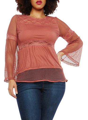 Plus Size Lace Fishnet Top,ROSE,large