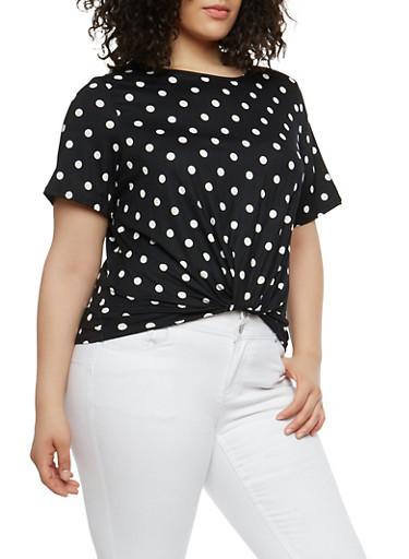 Plus Size Polka Dot Twist Front Top,BLACK/WHITE,large
