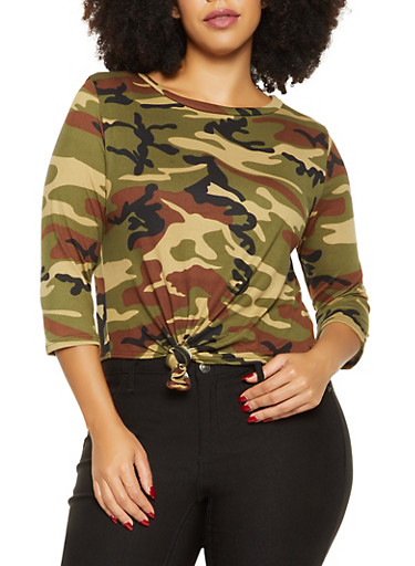 Plus Size Camo Knot Front Tee,OLIVE,large