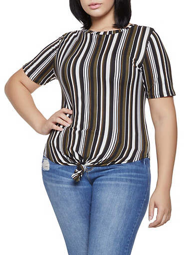 Plus Size Striped Tie Front Top,OLIVE,large