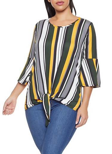 Plus Size Striped Tie Front Top,GREEN,large