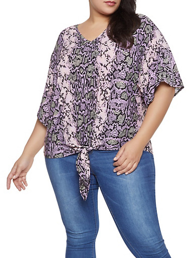 Plus Size Snake Print Tie Front Top,PINK,large