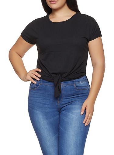 Plus Size Rib Knit Tie Front Top,BLACK,large