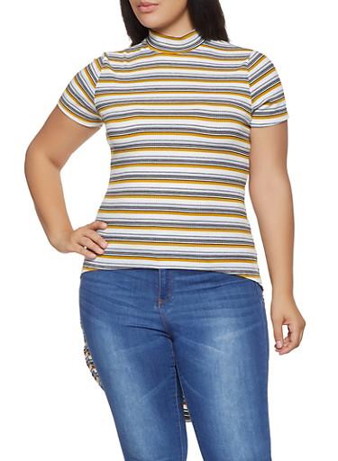 Plus Size Striped Rib Knit High Low Top,MUSTARD,large