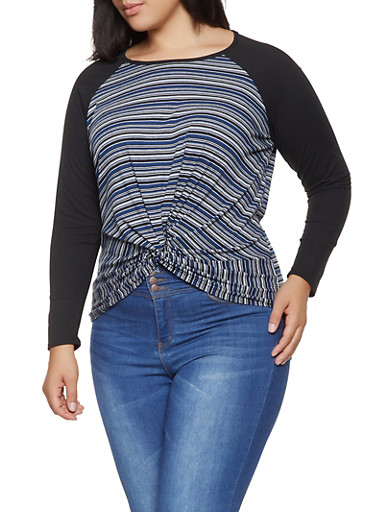 Plus Size Striped Twist Front Rib Knit Top,NAVY,large