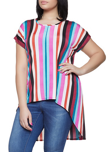 Plus Size Striped High Low Top,RED,large