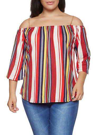Plus Size Striped Off the Shoulder Chain Strap Top,RED,large