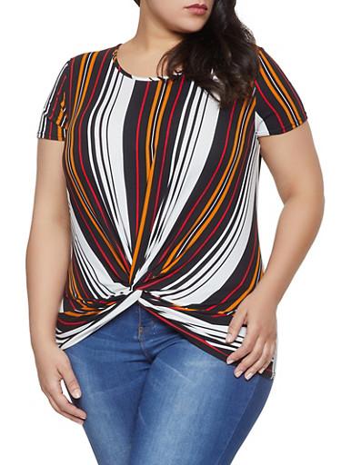 Plus Size Twist Front Striped Top,BLACK,large