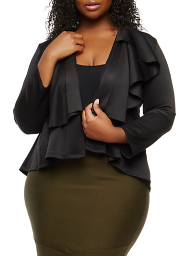 Plus Size Ruffle Blazer,BLACK,large