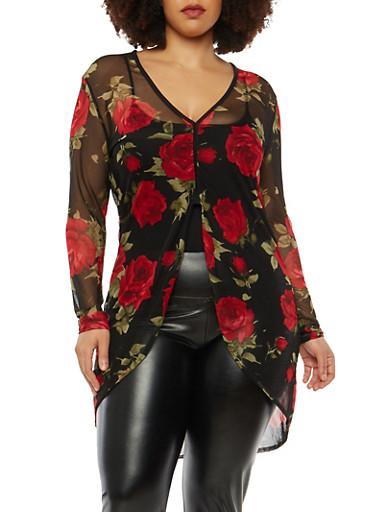 Plus Size Rose Print Mesh Top,BLK PTN,large