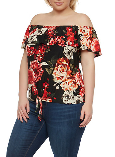 Plus Size Floral Off the Shoulder Top,BLACK,large