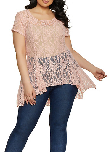 Plus Size High Low Lace Tee,PINK,large