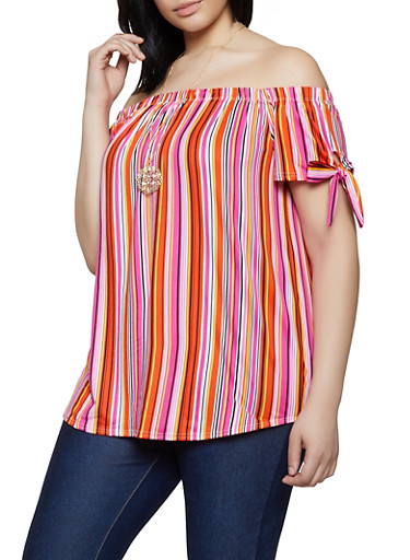Plus Size Off the Shoulder Striped Top with Necklace,BLACK,large