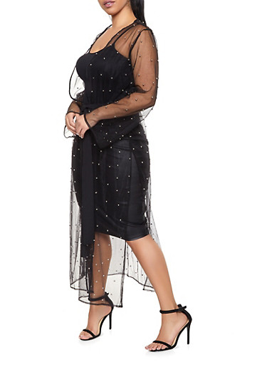 Plus Size Studded Mesh Tie Waist Duster,BLACK,large