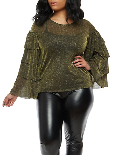 Plus Size Tiered Sleeve Glitter Knit Top,BLACK,large