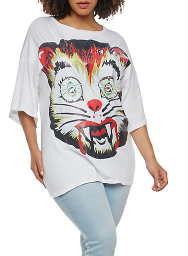 Plus Size Beaded Cat Graphic Tee,WHITE,large