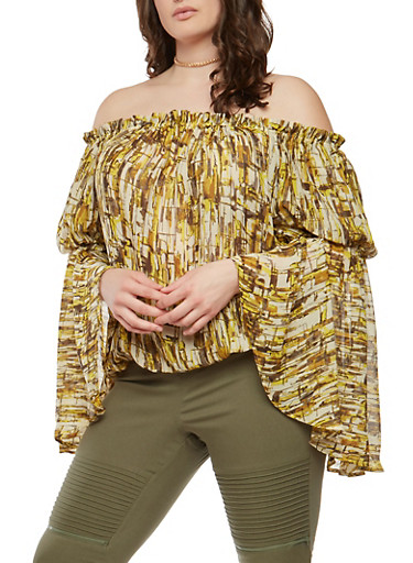 Plus Size Printed Off the Shoulder Top,GOLD,large