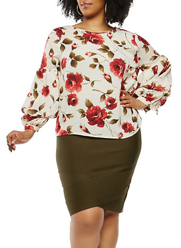 Plus Size Floral Bubble Sleeve Top,IVORY,large