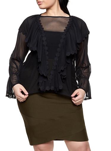 Plus Size Mesh Bell Sleeve Blouse,BLACK,large