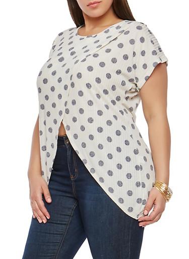Plus Size Polka Dot Asymmetrical Top,WHITE-NAVY,large