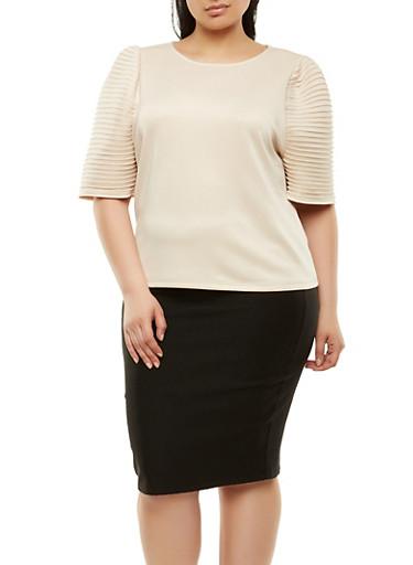 Plus Size Pleated Sleeve Scuba Top,TAN,large